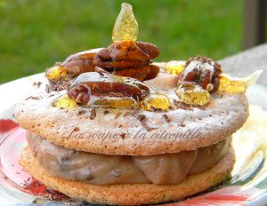 Recette Gros macarons à la crème de marron, noix
