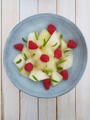 Recette Salade de Melon jaune aux framboises