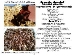 Recette Crumble chocolat pomme banane