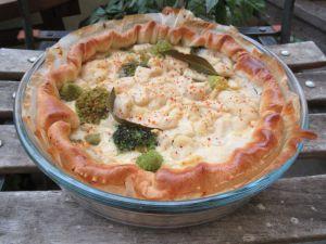 Recette Quiche printanière chou fleur, brocoli et mozzarella