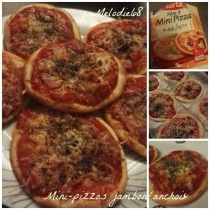 Recette Mini Pizzas express jambon/anchois à ma façon