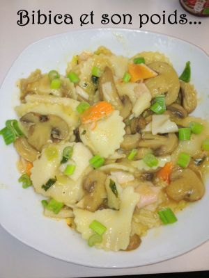 Recette Pâtes au surimi et champignons, sauce aux asperges