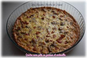 Recette Quiche sans pâte au jambon et andouille