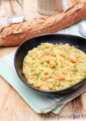 Recette Fricassée de poulet aux petits légumes ou comment cuisiner une boîte de conserve