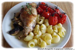 Recette Lapin rôti au thym frais, champignons et tomates confites au four