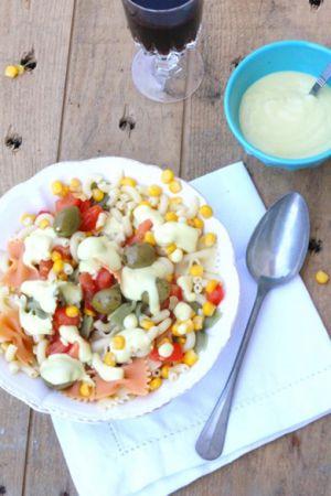 Recette Salade de pâtes sauce mayo vegan