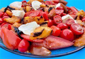 Recette Salade Tomates, Mozzarella et Pèches ou Nectarines Rôties (Ig Bas)