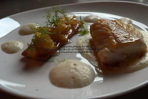 Recette Fenouil en folie : dos de cabillaud sur mousse de fenouil et croustillant de fenouil confit