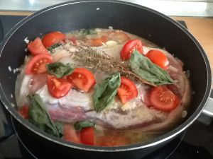 Recette Michele m'a cuisinee avec La Rouelle de Porc à la Provençale cuisson cocotte