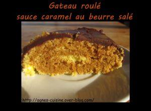 Recette Gâteau roulé sauce au caramel au beurre salé recouvert de pâte à tartiner chocorambar