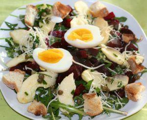Recette Salade de pissenlits, betterave, pomme, oeuf