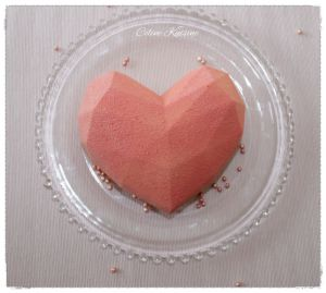 Recette Entremets coeur origami rose