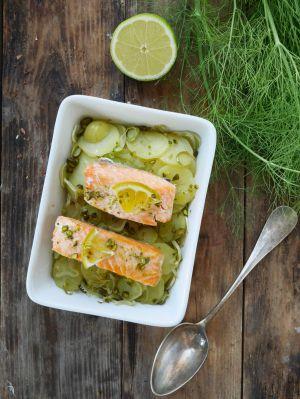 Recette Pavé de saumon, patates nouvelles et fenouil
