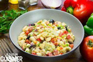 Recette Salade de haricots blancs à la morue (empedrat). Cuisine catalane