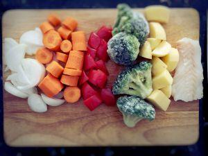 Recette [10 MOIS] – Purée de cabillaud, légumes du marché