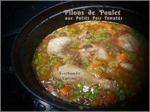 Recette Pilons (ou ailerons) de poulet aux petits pois tomatés