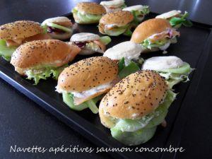 Recette Navettes apéritives saumon concombre