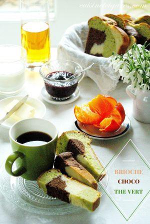 Recette Brioche Tressée 3 couleurs, Chocolat et Thé vert, sans oeufs