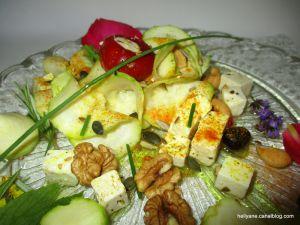 Recette Salade de courgettes aux fruits secs, fromage et curcuma
