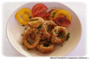 Recette Calamars panes chapelure aux graines de sesame & maïs torrefie