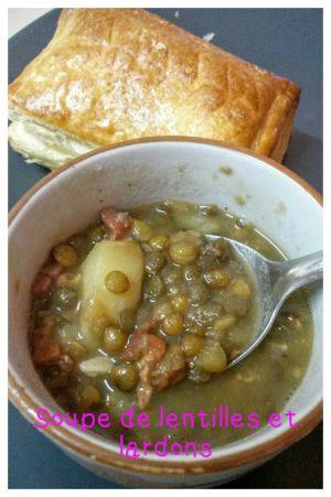 Recette Soupe de lentilles aux lardons / Cookéo