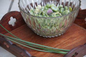 Recette Salade de feves a la ciboulette et a la sarriette