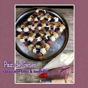 Recette Pain de Gènes, cassis myrtilles, amandes, & chantilly (sans gluten)
