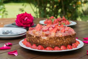 Recette Cheesecake Fraise Rhubarbe et Spéculoos (facile)