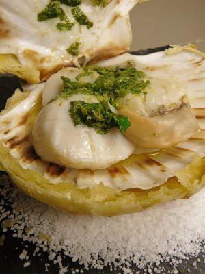 Recette Coquille St Jacques lutée au beurre de gingembre coriandre et citron vert