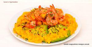 Recette Salade de langoustines à la mangue et à l'avocat selon G. Ramsay