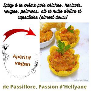 Recette Apéritif végan : spicy ou coupelles à la crème pois chiches, haricots, rouges, poivrons, ail et huile d'olive et capsaïcine