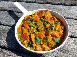 Recette Curry de potimarron aux pois chiches, épinards et lait de coco
