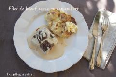 Recette Filet de boeuf, sauce au camembert et gratin aux deux pommes