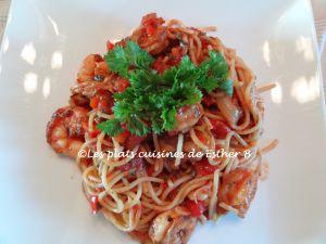 Recette Pâtes aux crevettes, sauce tomate