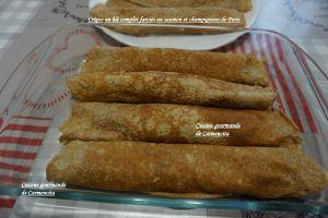Recette Crêpes au blé complet garnies au saumon frais et champignons de Paris