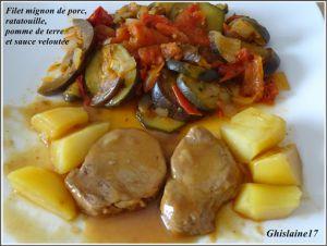 Recette Filet mignon de porc, ratatouille, pomme de terre et sauce veloutée