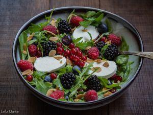 Recette Salade de roquette et fruits rouges au chèvre frais d'Alsace