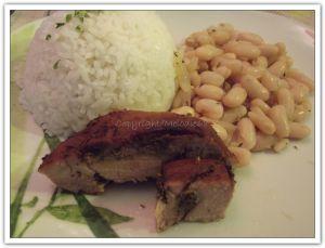 Recette Plat du jour à la créole : Rouelle de porc à la façon de Runrol/riz/haricots blancs