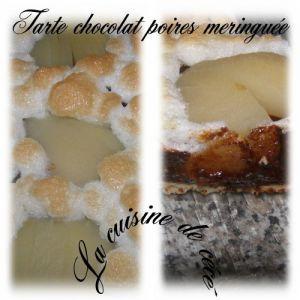Recette Tarte chocolat poires meringuée