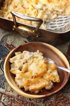 Recette Gratin de pâtes, coings, saucisse et sauge