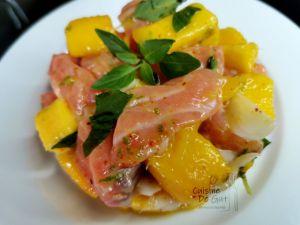 Recette Tartare de saumon et mangue au basilic et poivre Timut du Népal