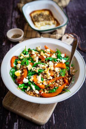 Recette Salade d'épeautre au potimarron et feta rôtie