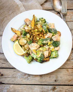 Recette Ma poêlée de saumon aux légumes
