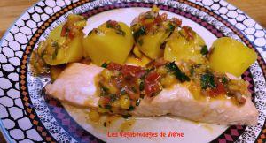 Recette Saumon vapeur, sauce vierge à la mangue
