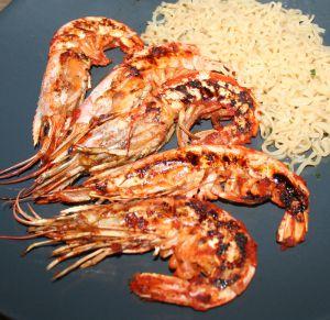 Recette Gambas marinées au curry rouge à la plancha