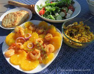Recette Salade de crevettes et de saumon fumé à l'orange +