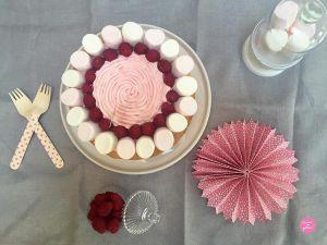 Recette Layer cake Chamallows et framboises
