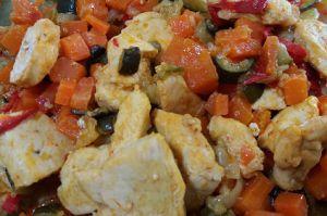 Recette Poêlée de légumes au poulet