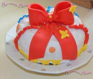 Recette Gâteau d'anniversaire décor en pâte à sucre