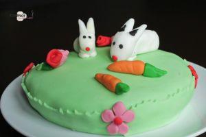 Recette Gâteau petits lapins en pâte à sucre